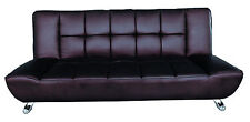Barletta Modern Leather Sofa Bed in Brown / Chequered Back Living Room Chair