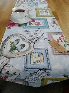 TABLE RUNNER, COTTON,FRAMES,BIRDS,FLOWERS  160 x 33 cm. HANDMADE