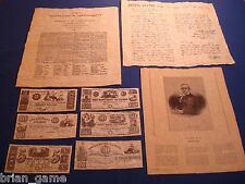 Texas Currency, Declaration of Indpendence,  Houston, Travis Letter,9pc  Replica