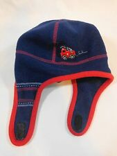 Carters Fleece Hat 12-24 Months Fire Truck Navy Blue Red Sticky Strap