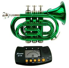NEW Merano GREEN Lacquer Pocket Trumpet with Case, Mouth Piece, Metro Tuner