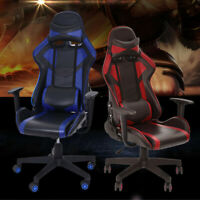 Gaming Chair Racing Style Leather Office Adjustable Recliner Computer Seat USA