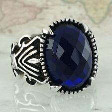 Solid 925 Sterling Silver Blue Sapphire Gemstone Mens Ring HandMade AAA Quality