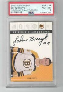 2003-04 ITG Parkhurst Original 6 John Bucyk Auto PSA 8 OS-JB Boston Bruins