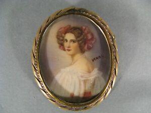 Spilla Antica IN Miniatura Dipinti Ritratto Donna Auguste Strobl Joseph Stieler