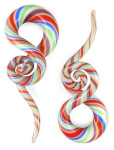Pair Berry Twist Curls and Loops Glass Hangers Gauges
