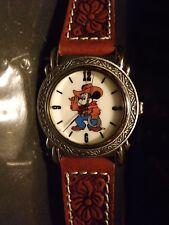 Womens Vintage Pedre Disney Mickey Mouse Cowboy Watch (Silvertone)-Rare-VHTF-New