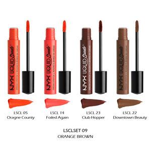 """1 NYX Liquid Suede Cream Lipstick - Full Size Set """"LSCLSET09 - Orange Brown"""""""