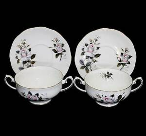 Vintage Royal Albert Queen's Messenger pair of soup coupes & saucer/trays