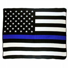 Wholesale ( 12 ) USA Thin Blue Line 50x60 Polar Fleece Blanket Throw Plush