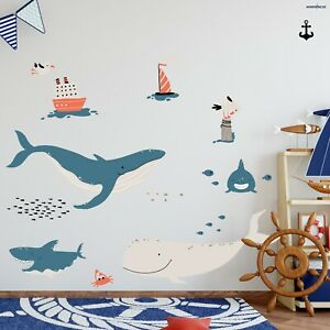 WAL HAI V247 Wandtattoo Wandaufkleber Aufkleber Kinderzimmer Meerestiere Schiff