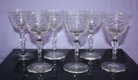 Set of 5 Vintage Elegant Sherbet Champagne Glasses - Twisted Stems ~ 5-1/8 Tall