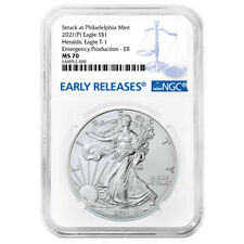 Presale - 2021 (P) $1 American Silver Eagle NGC MS70 Emergency Production Blue E