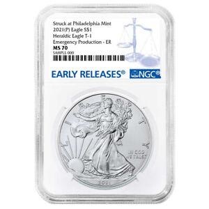 Presale - 2021 (P) $1 American Silver Eagle NGC MS70 Emergency Production Blue E