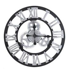 Large Outdoor Garden Wall Clock Big Roman Numerals Giant Open Face Wood 80CM HG