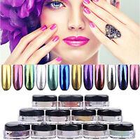 12 COLORS Mirror Chrome Effect Glitter Dust Magic Shimmer Nail Art Powder+Brush