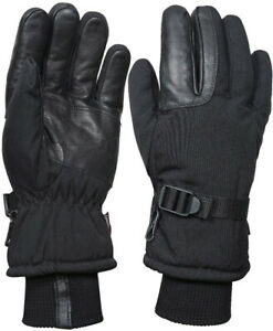 Mens Black Extreme Cold Weather Insulated Waterproof Long Cuff Hunting Gloves