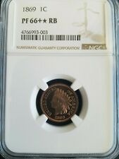 NGC PR66+RB * 1869 Indian Head Cent * 2nd Finest * Only 1 Higher From NGC & PCGS