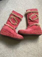 Roberto Cavalli Angels Boots Red Suede Fur Trim Sz 39 UK6 Boho