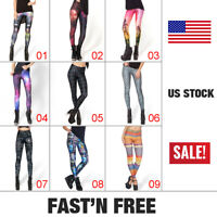 Women Printed Pencil Stretchy Yoga Leggings Gym Stretch Pants Skinny Trousers