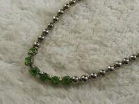 Silvertone Ball Chain Green Rhinestone Necklace (B8)