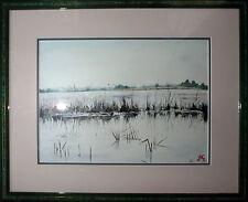 Tableau Aquarelle bord de rivière joncs : La Brenne vue par J.C. Neige (Nevers)