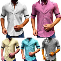 Mens Short Sleeve Collared Shirt Summer Casual Slim Fit Tops Blouse T-shirts Top