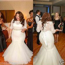 White/Ivory Mermaid Half Sleeve Lace Wedding Dress Bridal Gown Custom Plus Size