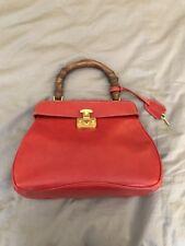 Vintage Gucci Brick Red Bamboo Handle Bag