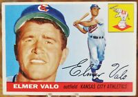 1955 Topps Baseball Card, #145 Elmer Valo, Kansas City Athletics - EX