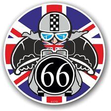 Retro cafe racer 1966 ton up club union jack drapeau cocarde vinyle voiture vélo autocollant