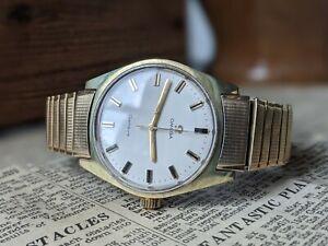Gents Vintage Omega Geneve 1969 Gold Plated Sunburst 601 Original Strap Working