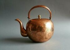 Antique Japanese Copper Bulbous Teapot Hand Crafted & Etched with Chrysanthemums