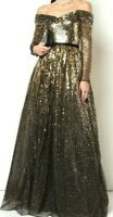 New 2020 Marchesa Notte Off the Shoulder Ombre Sequin Tulle Long Dress Gown US 8