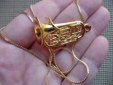 (M-203-E) EUPHONIUM PENDANT NECKLACE Jewelry gold plate music horn horns love