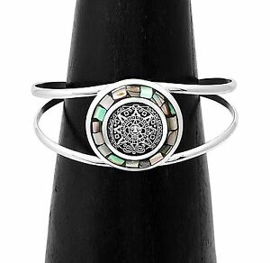 Artisan Mesoamerican Aztec Calendar with Inset Abalone Cuff Bracelet from Taxco