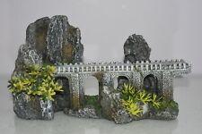Aquarium Ancient Old Stone Bridge Viaduct & Plants 26 x 10 x 14 cms