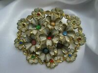 Vintage Enamel Gold Tone Metal Multi Coloured Rhinestone Flower Brooch Pin