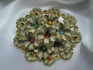 Vintage Enamel Gold Tone Metal Multi Coloured Rhinestone Flower Brooch Lapel Pin