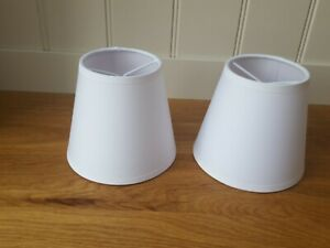 Pair brilliant white fabric Small Clip - on Lampshades