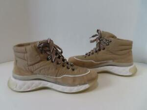 Chanel Beige 19B Hi Top Suede & Nylon Logo Sneakers/Shoes EUR 37.5/US 7