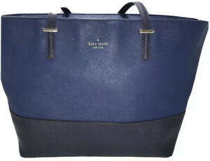 Kate Spade tote blue Saffiano leather Leather straps Large purse Two tone blue