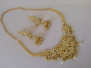 Bollywood-fashion jewelry gold tone pearl stone necklace set and earring