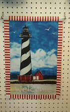 """12"""" X 18"""" Welcome Black And White Lighthouse Double Sided Garden Flag"""