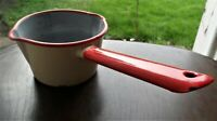 Vintage ENAMEL MEASURING Milk PAN Sauces RED & CREAM Rustic Kitchenalia