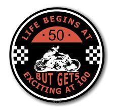Life Begins at 50 RETRO CAFE PER MOTO 100MPH CLUB TONDO vinile auto adesivo