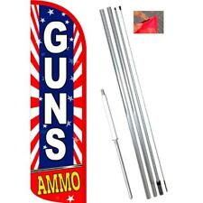 GUNS AMMO (Starburst) Windless-Style Feather Flag Bundle 14' OR Replacement Flag