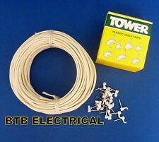 2 Core Bell/Speaker Cable 10 Metre Length 1 Amp Rated +  20 Nailed Clips to suit