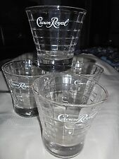 """Four Crown Royal Whiskey Glasses Etched Logo Block Optic Design 3 3/8"""" tall"""