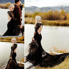 Black Gothic Mermaid Wedding Dresses Long Sleeve Lace Backless Bridal Gowns